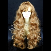 STRIKING! Long Wavy Curly Strawberry Blonde Ladies Wigs