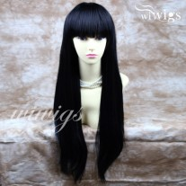 NEW Sexy Long Straight Jet Black Wigs center Skin top Wig Hair WIWIGS UK