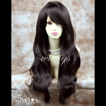 Stunning XXX Long Wavy Medium Brown Ladies Wigs Skin top BANGS Wig UK 836