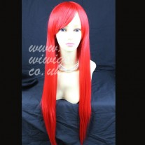 Stunning XXX Long Layes Straight Fire Red Ladies Wigs Skin Top Cosplay Wig UK 8612