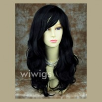 Wonderful wavy Long Black Ladies Wigs UK