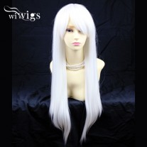 Awesome Long Straight Skin Top Snowy White Cosplay Wigs UK