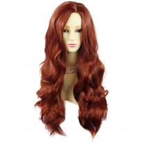 Sexy Fabulous Long Layers Wavy Wig Copper Red Ladies Wigs Skin Top UK