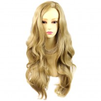 Sexy Fabulous Long Layers Wavy Wig Golden Blonde Ladies Wigs Skin Top UK