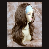 Light Brown Long 3/4 Wig Fall Hairpiece Wavy Layered Hair Piece by Wiwigs