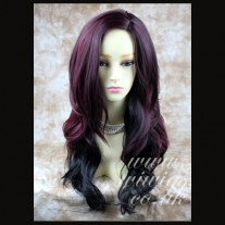 Heat Resistant Burgundy mix Black Layered wavy Long Ladies Wigs WIWIGS UK