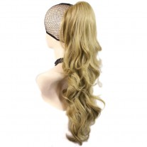 Long Wavy Gold blonde Ponytail Jaw Claw Clip in Hair Piece Extension UK
