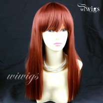 Sexy Fox Red Long Ladies Wigs Skin top BANGS Wig UK WIWIGS