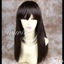 Silky Long Straight Medium Brown Wigs Skin top