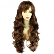 Sexy Beautiful Curly Light chestnut brown Long Wavy Ladies Wigs skin top wig UK