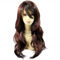 Sexy Long Wavy Dark Brown & Copper Red skin top hair Ladies Wigs from WIWIGS UK