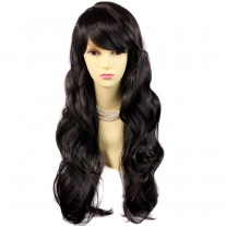 Sexy Beautiful Layered wavy dark Brown Long Ladies Wigs Skin Top Wig UK