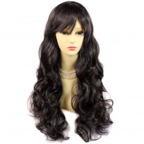 Sexy Beautiful Layered Curly Dark Brown Long Ladies Wigs Heat Resistant Wig UK