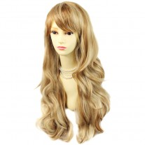 Sexy Beautiful Layered wavy strawberry Blonde mix Long Ladies Wigs Wig UK