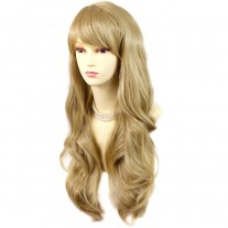 Sexy Beautiful Layered wavy Golden Blonde Long Ladies Wigs Skin Top Wig UK