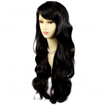 Sexy Beautiful Layered wavy Black Brown Long Ladies Wigs Skin Top Wig UK