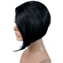 Posh Short wig Asymmetric Bob Hair Jet Black Ladies Wigs Wiwigs UK