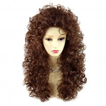 AMAZING SEXY Wild Untamed Long Curly Wig Light Brown Ladies Wigs