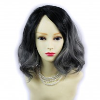 Wiwigs ® Lovely Short Wavy Wig Grey & Off Black Dip-Dye Ombre Hair UK