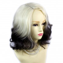 Wiwigs ® Lovely Short Wavy Wig Light Blonde & Medium Brown Dip-Dye Ombre Hair UK