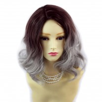Wiwigs ® Lovely Short Wavy Wig Grey & Dark Auburn Dip-Dye Ombre Hair UK
