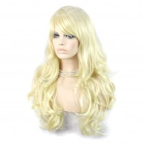 Sexy Beautiful Layered wavy Pale Blonde Long Ladies Wigs Heat Resistant Wig UK