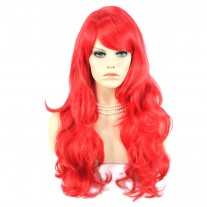 Beautiful Watch Out Cosplay Long Layes Wavy Fire Red Ladies Wigs Skin Top Wig UK