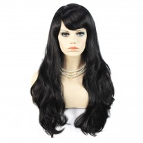 Sexy Beautiful Long Layered wavy wig Jet Black Wiwigs UK