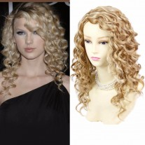 Lovely Stunning Long Curly Blonde mix skin top Wigs Versatile Hair Ladies Wig UK