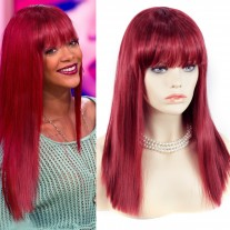 Sexy Heat Resistant Burgundy mix Red Long Ladies Wigs Skin top BANGS Wig UK