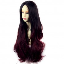 Long Wavy Lady Wigs Black Brown & Burgundy Dip-Dye Ombre hair WIWIGS