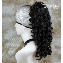 Black Ponytail Irish Dance Extension Curly Hair Piece