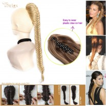 Celebrity Cute Strawberry Blonde Light Blonde HighlightsFishtail Braids clip in Ponytail Plaited Hair Extensions