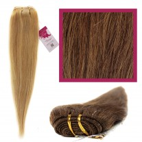 "DIY Double Weft Lush 'Medium Brown Auburn Mix' 18"" Hair Extensions Deluxe Human Hair."