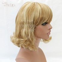Classic SOFT Blonde mix Ladies Wigs skin top Medium wig WIWIGS UK