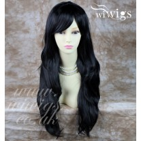 Stunning Heat Resistant XXX Long Wavy Black Brown Ladies Wigs Skin top BANGS Wig UK