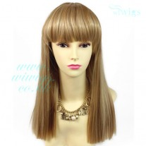 Sexy Heat Resistant Blonde mix Long Ladies Wigs Skin top BANGS Wig UK