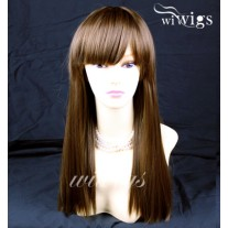 Long Heat Resistant Light Chestnut Brown Straight Ladies Wigs