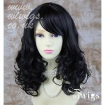 Stunning Heat Resistant Curly Medium Wig Black Brown Skin Top Ladies Wigs
