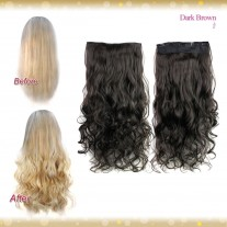 Half head 1 Piece clip In Curly Dark Brown Hair Extensions UK