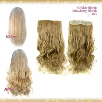Half head 1 Piece clip In Curly Golden Blonde MIX Strawberry Blonde Hair Extensions UK