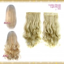 Half head 1 Piece clip In Curly Golden Blonde MIX Light Blonde Hair Extensions UK