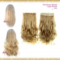 Half head 1 Piece clip In Curly Strawberry Blonde MIX Light Blonde Hair Extensions UK