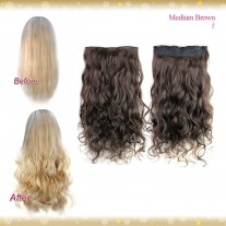 Half head 1 Piece clip In Curly Medium Brown Hair Extensions UK