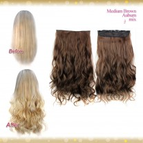 Half head 1 Piece clip In Curly Medium Brown Mix Auburn Hair Extensions UK