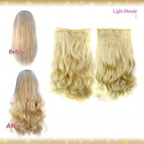 Half head 1 Piece clip In Curly Light Blonde Hair Extensions UK