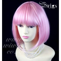 Cosplay Heat Resistant Pink Bob Style Short Ladies Wigs WIWIGS UK