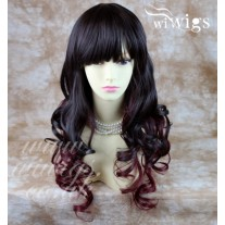 Beautiful Layered Curly Burgundy Red / Brown Long Ladies Heat Resistant Wigs UK