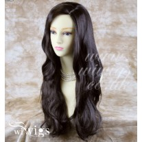Stunning Long Wavy Dark Brown Natural Wig Sink Top Ladies Wigs UK