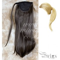 Wiwigs Ladies 1 Piece Clip Medium Brown Straight Ponytail Wrap around Pony